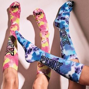 Pink Victoria's Secret tie-dye sock bundle